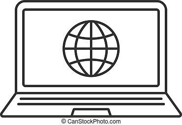 computador portatil, icono, red, conexión, lineal