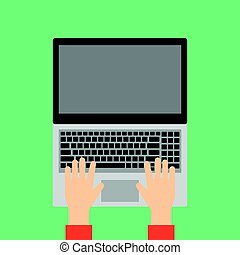 computador portatil, manos, keyboard., mecanografía