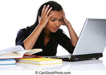 computador portatil, mujer, computadora, joven, desesperado
