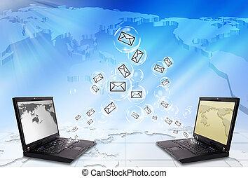 computador portatil, sobre, email, enviar