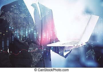 computador portatil, tenencia, estadística, global, hombre de negocios, empresa / negocio