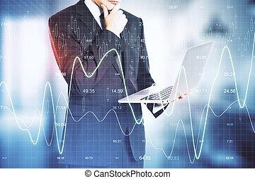 computador portatil, tenencia, estadística, hombre de negocios, empresa / negocio, holograma