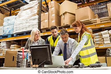 computador portatil, trabajando, directores, trabajador, almacén