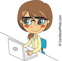 computador portatil, trabajando, secretario
