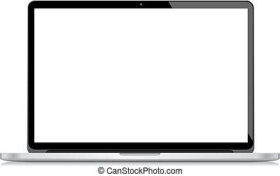 computador portatil, vector, aislado, bac blanco