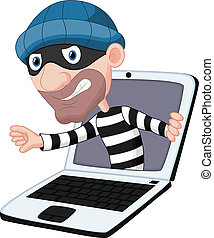 computadora, caricatura, crimen