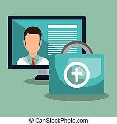 Computadora con icono medicinal