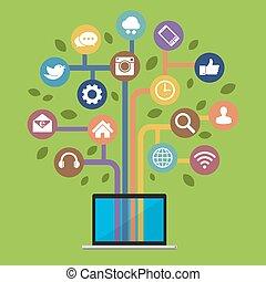 Computadora con iconos de los medios sociales