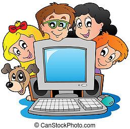 Computadora con niños y perro