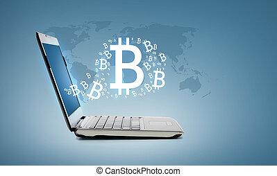 computadora de computadora portátil, bitcoin
