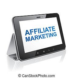 Computadora de tablet con marketing afiliado de texto en exhibición