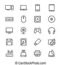 computadora, delgado, iconos