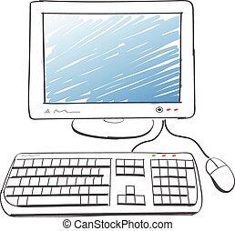 computadora, dibujo