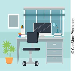 computadora, escena, lugar de trabajo, escritorio