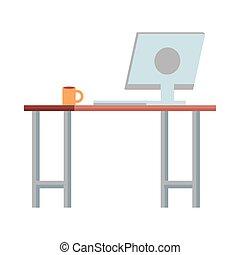computadora, escritorio, lugar de trabajo, escena