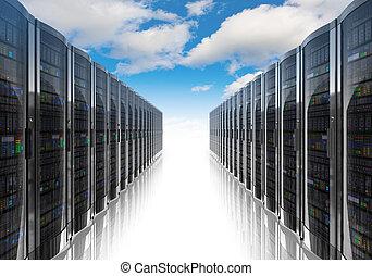 computadora, establecimiento de una red, informática, nube, concepto