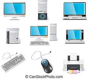 computadora, icon., vector, blanco