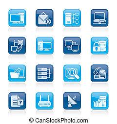 computadora, internet, red, iconos