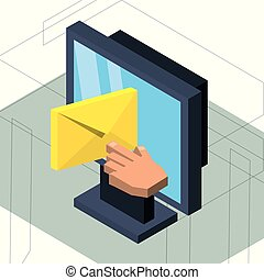Computadora isométrica con mensaje de correo electrónico