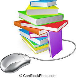 computadora, libro, pila, ratón