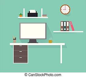 Computadora, lugar de trabajo