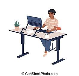 computadora, plano, piel, sentado, furnituring, empleado, aislado, vector, oficina, contemporáneo, illustration., hembra, moderno, lugar de trabajo, ajustable, white., trabajando, ergonómico, negro, mujer sonriente, alegre