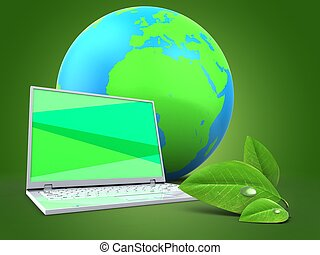 Computadora portátil 3D con Tierra Globo