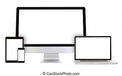Computadora, portátil, teléfono, tablet pc
