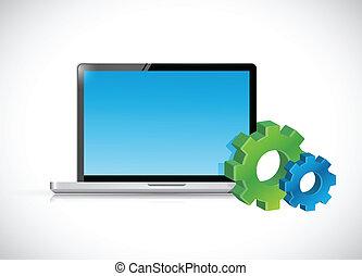 Computadora portátil y iconos de engranaje. Ilustración