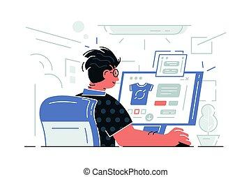 computadora, sentado, tipo