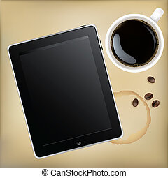 Computadora Tableta con taza de café