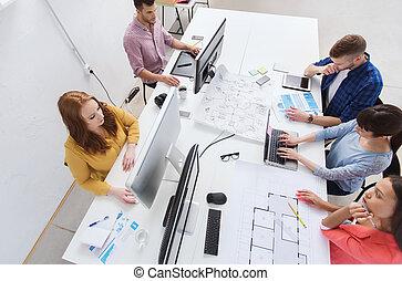 computadoras, oficina, cianotipo, equipo, creativo