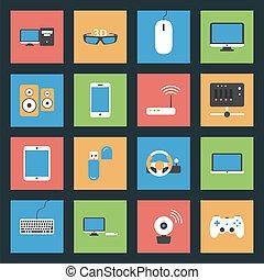 Computadoras, periféricos y dispositivos de red, iconos planos