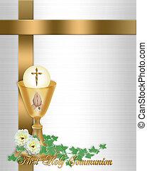 comunión, santo, plano de fondo, invitación