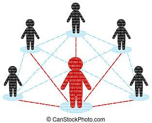 Comunicación de red. El concepto del equipo de negocios. Ilustración del vector