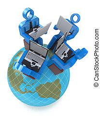 Comunicación en equipo con grupos de gente de negocios trabajando en la red global de asociación