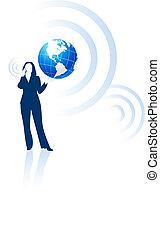 Comunicación global de la mujer de negocios