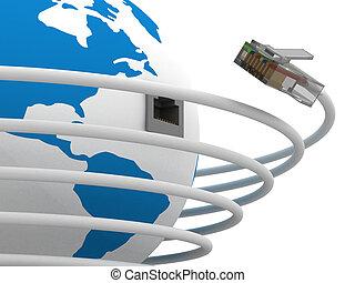 Comunicación global en el mundo. Imagen 3D.