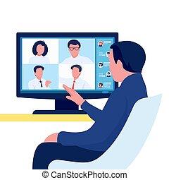 comunicación, grupo, concept., en línea, persona, reunión, vídeo, equipo, conference., personas., vector