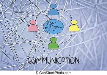 Comunicación mundial de negocios, gente conectada por todo el mundo