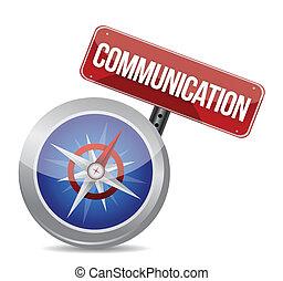 Comunicación palabra roja sobre brújula conceptual