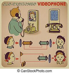 Comunicación por teléfono retro