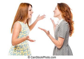 Comunicación verbal de una mujer emocional en un fondo blanco