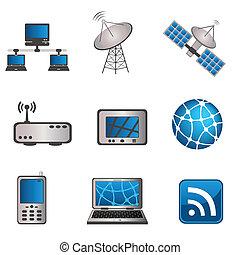 Comunicaciones y iconos informáticos listos