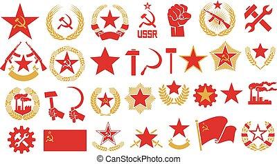 Comunismo e íconos vectores del socialismo establecido (gear, puño, estrella, martillo, hoz, estrella de la URSS, corona de trigo, rifle automático, fábrica, emblema soviético)