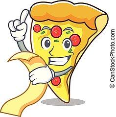 Con caricatura de mascota de rebanadas de pizza