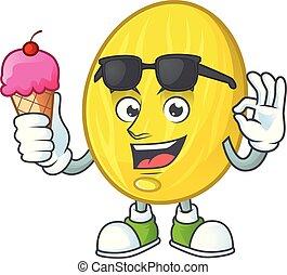 Con caricatura de melón helado en fondo blanco