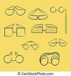Con diferentes tipos de gafas en contorno