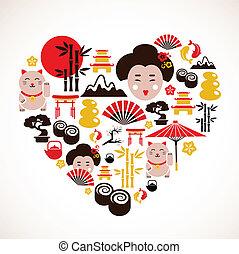 Con forma de corazón con iconos japoneses