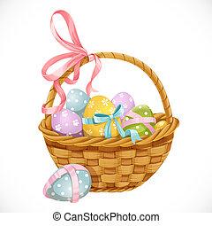 Con huevos de Pascua aislados en un fondo blanco